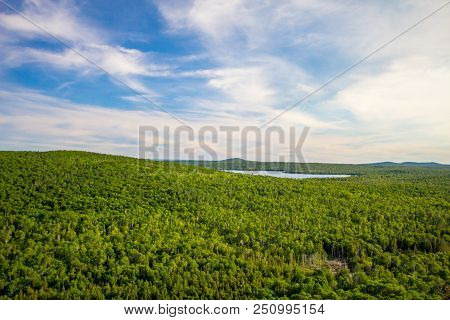 View From Brockway Mountain Drive. Panoramic View Of The Lush Forest Wilderness Of Northern Michigan