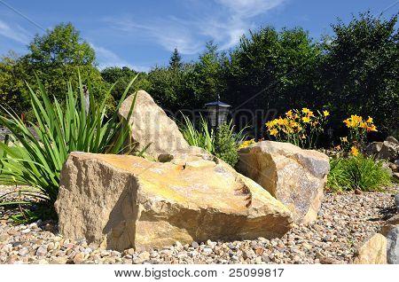 Rock-garden in a relaxing park
