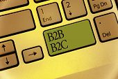 Writing note showing B2B B2C. Business photo showcasing two types for sending emails to other people Outlook accounts Keyboard green key Intention computer computing reflection document poster
