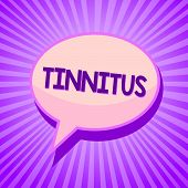 Conceptual hand writing showing Tinnitus. Business photo text A ringing or music and similar sensation of sound in ears Speech bubble idea reminder purple shadows important intention ray poster