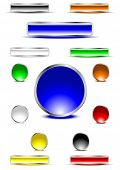 Glossy buttons in various colors. Vector. poster