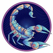 Scorpio zodiac sign, horoscope symbol. Futuristic style icon. Stylized graphic blue scorpion with raised up sting and pincers, ready to attack. Portrait scorpio in circle. Vector illustration. poster