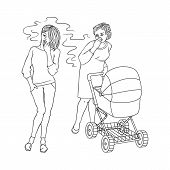 Blonde girl in jeans smoking near annoyed mother with baby stroller. Female caucasian characters, nicotine addiction and passive tobacco smoking risk concept. Vector monochrome sketch illustration poster