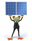 Frog and solar panels poster