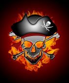 Pirate Skull Captain with Fire Flames Background Illustration poster