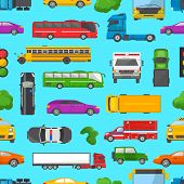 Traffic jam vector transport car vehicle and bus in the rush hour on highway road vector illustration set of transportation congestion of automobiles minicars and vans in jammed line. poster