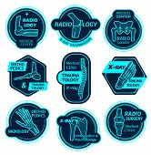 Orthopedics and traumatology icons of X-ray bones and joins for health center or radiology orthopedic clinic. Vector symbols of body joints and spine bones for corrective therapy and diagnostics poster