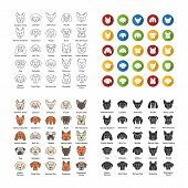 Dogs breeds icons set. Canine. Guide, guardian, hunting, herding dogs. Linear, flat design, color and glyph styles. Isolated vector illustrations poster