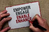 Word writing text Empower Engage Enable Enhance. Business concept for Empowerment Leadership Motivation Engagement On jute ground human hand written some texts on red bordered paper poster