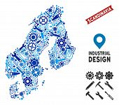 Industrial Scandinavia map collage of cogwheels, wrenches, hammers and other instruments. Abstract territorial plan in blue color tones. Vector Scandinavia map is composed of instruments. poster