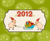 Cartoon funny sheep with numbers 2012 year. Christmas illustration poster