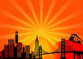 San Francisco California City Skyline and Golden Gate Bridge Illustration poster