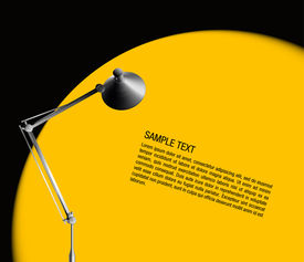 desk lamp with yellow light - vector