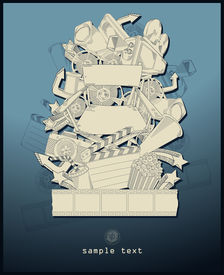 line drawing movie theme - vector - blue
