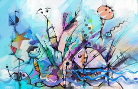 Abstract Colorful Fantasy Oil Painting. Semi- Abstract Of Chidren, Tree, Fish And Bird. Spring ,summ