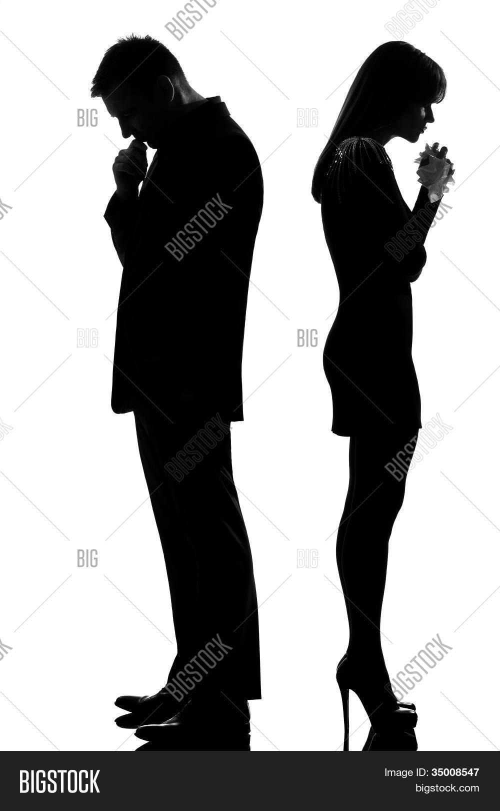One Caucasian Sad Couple Back Back Image  for Person Thinking Silhouette  195sfw
