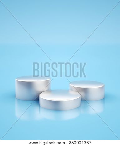 Three silver pedestals for product placement at minimal blue studio background. 3D render