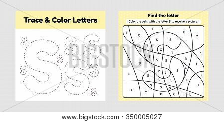 Coloring Book Letter For Kids. Worksheet For Preschool, Kindergarten And School Age. Trace Line. Wri