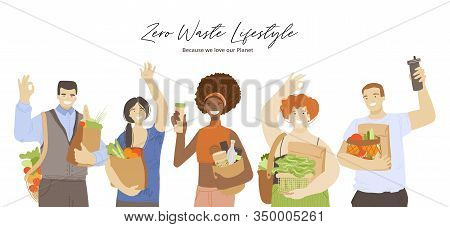 Group Of Happy Joyful Multiracial People Holding Zero Waste Ecological Recycle And Reduce Products,