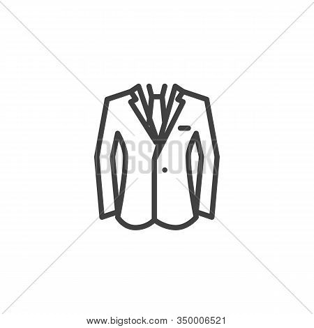 Business Suit Jacket Line Icon. Linear Style Sign For Mobile Concept And Web Design. Mens Jacket Wit