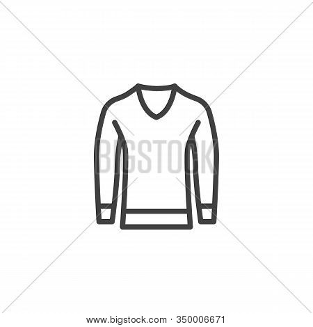 Mens Sweater Line Icon. Linear Style Sign For Mobile Concept And Web Design. Long Sleeve Pullover Ou
