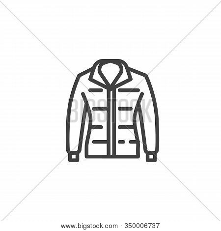 Mens Jacket Line Icon. Linear Style Sign For Mobile Concept And Web Design. Long Sleeve Jacket Outli