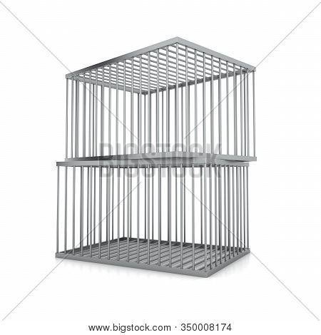 Two Metal Cages Isolated On A White Background. The Concept Of Deterrence. 3d Rendering