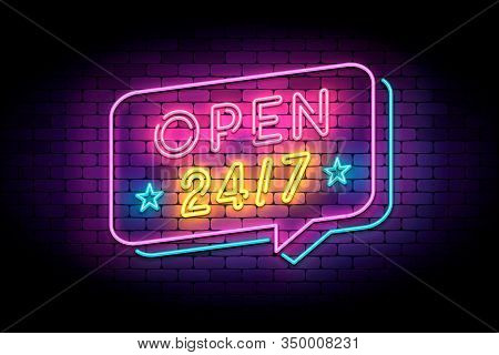 Open 24 Hours In Neon Style On A Brick Wall. Vector Illustration With Neon Letters And Speech Bubble