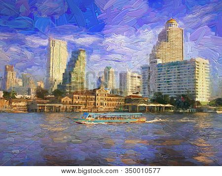 Afternoon View Of Chao Phraya River And The Tourists Boat See The Atmosphere On Both Banks Of The Ri