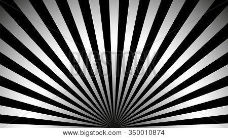 Gray Ray Background. Vintage Abstract Texture. Retro Starburst, Sun Beam. Halftone Color. Light Burs