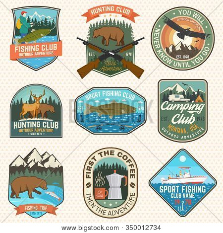 Set Of Hunting And Fishing Club Patches. Vector Illustration. Concept For Shirt, Logo, Stamp, Patch.