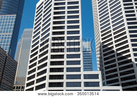 Different buildings in downtown Minneapolis in Minnesota, USA