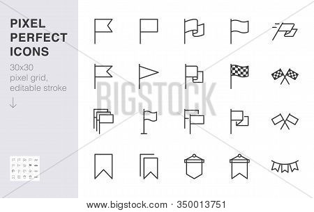 Flag Line Icon Set. Checkered Flags, Location Marker, Waving Pennant, Bookmark, Pin Minimal Vector I
