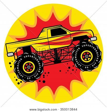 Jump Monster Truck 4x4 Show, Vector Illustration