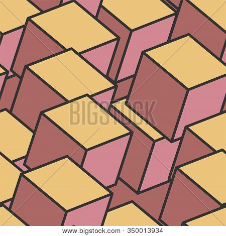 Seamless Pattern Of Color Cubes. Cube Pattern. Cube Vector. Cube Background. Abstract Seamless Backg