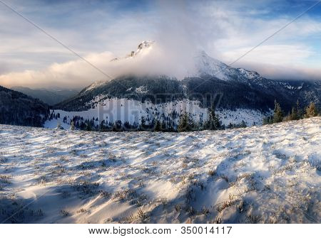 Slovakia Peak Rozsutec At Winter From Osnica