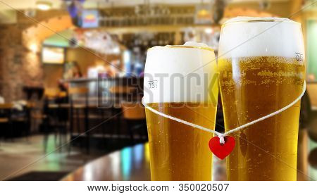 Two Glasses Of Beer For Lovers With Red Heart. Valentine Day