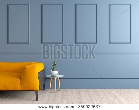 Pale Blue Wall Interior With Yellow Sofa And Copy Space. 3d Render