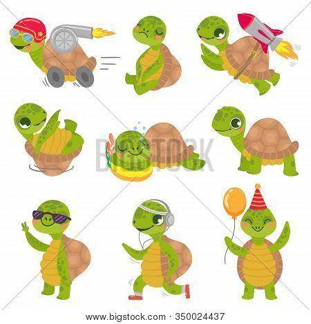 Turtle Child. Cute Little Green Turtles Mascot, Fast Rocket Tortoise And Sleeping Turtle Vector Illu