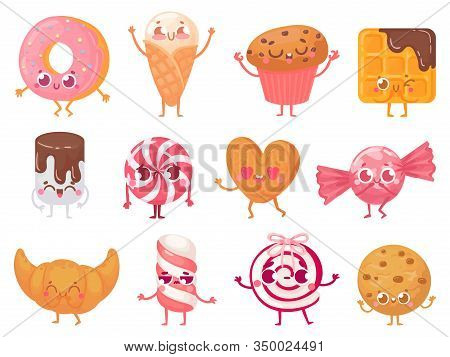 Cute Sweets. Happy Cupcake Mascot, Funny Sweet Candy Character And Smiled Donut. Cookies, Ice Cream