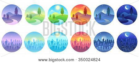 Day Time Landscape. Dawn, Morning City, Sunny Day, Evening Sunset, Twilight Field, Night Cityscape R