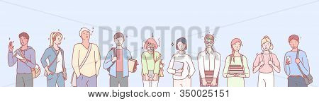 College Or University Leisure Set Concept. Ilustration Of Students Boys And Girls Studying In Colleg