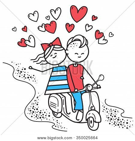 Lovers Boy And Girl Ride On Gas Moped Scooter. Fun Trip. Happy Guy And Girl. Valentines Day Illustra
