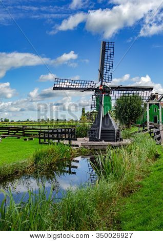 View Of The Village Of Zaanse Schans S Netherlands. Zaanse Schans Is One Of The Most Visited Tourist