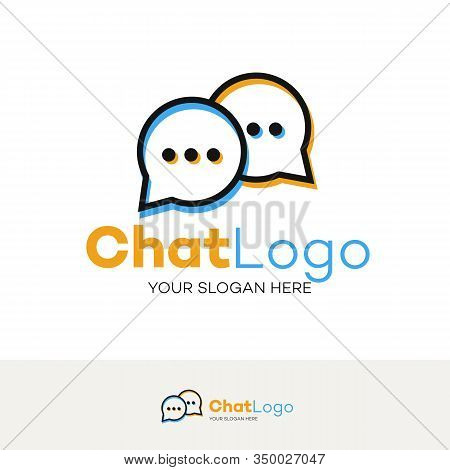 Chat Logo Line Style Isolated On Background For Social Media, Communication, Chat Bot, Chatting Tech