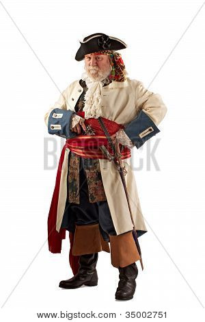 Classic bearded pirate captain in defensive stance holding weapons. Vertical layout isolated on white background with copy space. poster
