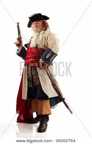 Traditionally costumed pirate captain with raised musket and wearing a sheathed sword. Full figure on white background, standing in a three quarter view. poster