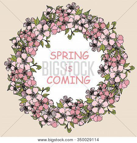 Apple Flowers Wreath. Hand Drawn Ink Colorful Round Frame, Lorem Ipsum Art Design Stock Vector Illus