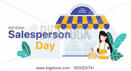 National Salesperson Day Horizontal Banner Template. Girl Packing Fruit Into Bag In Front Of The Sto