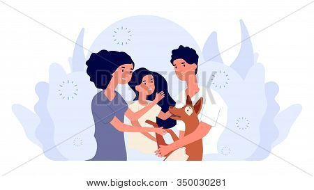 Happy Young Family. People Adopting Dog, Mother And Father, Daughter And Pet Vector Illustration. An